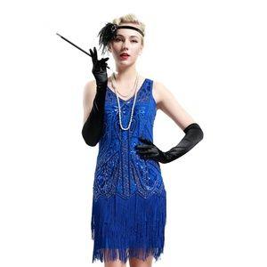 Hurricane IN Mink Dresses - Cobalt Blue Sleeveless Flapper Beaded and Sequined